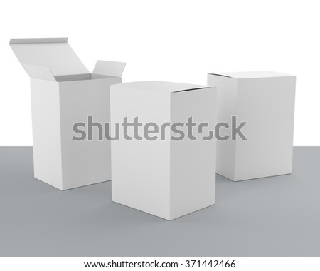 open and closed blank box products template - stock photo