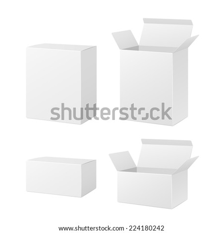 open and closed blank boxes isolated on white - stock photo