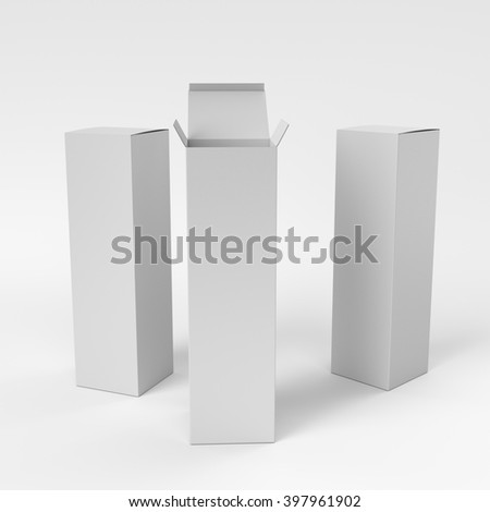 open and closed blank long boxes - stock photo