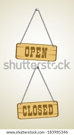 open and closed signs - stock photo