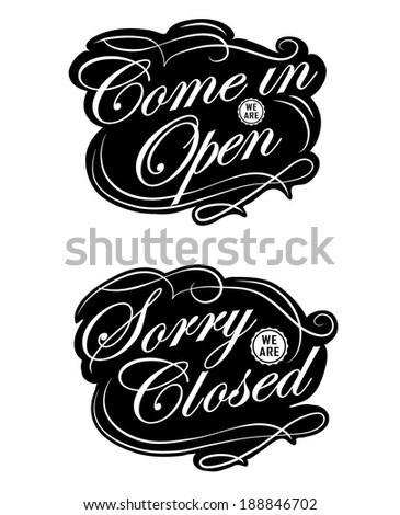 open closed vintage retro signs can stock illustration 188846702