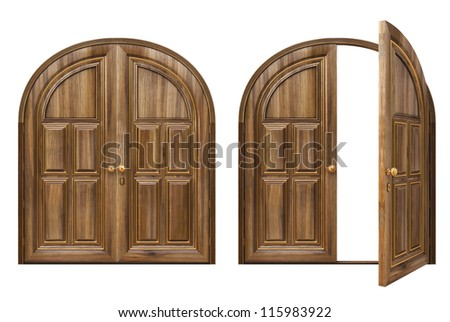 open and closed wooden doors. isolated on white. - stock photo