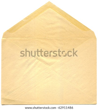 open antique post envelope isolated on white