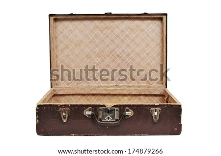 open antique suitcase on a white background