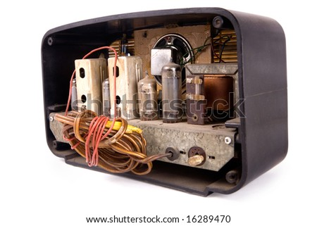 open back of an old vintage radio reciever, clipping path included - stock photo