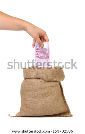 Open bag with 500 euros - stock photo