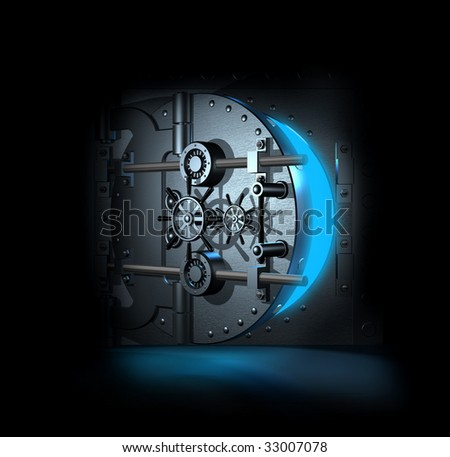 open bank vault, blue shining light inwardly, 3D render - stock photo