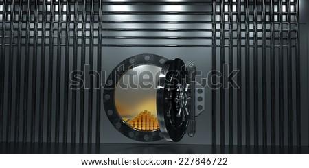 Open Bank vault, 3d render - stock photo