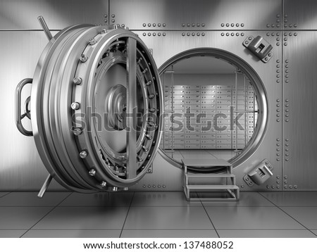 Open Bank Vault Door - stock photo