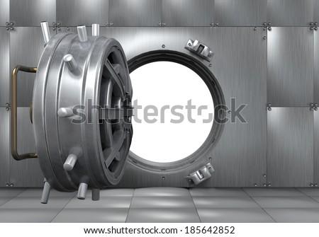 Open Bank Vault Door - stock photo