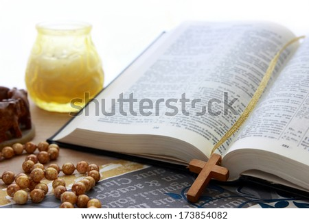 Open bible and christ. - stock photo