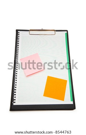 Open binder with post-it notes and blank page - stock photo