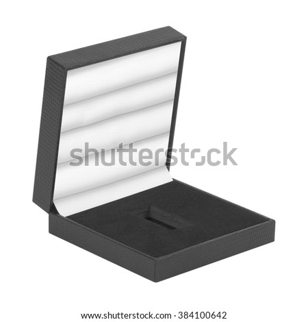 Open black gift box isolated on white background