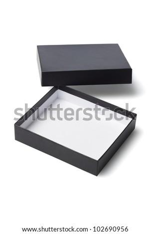 Open Black Gift Box on White Background - stock photo