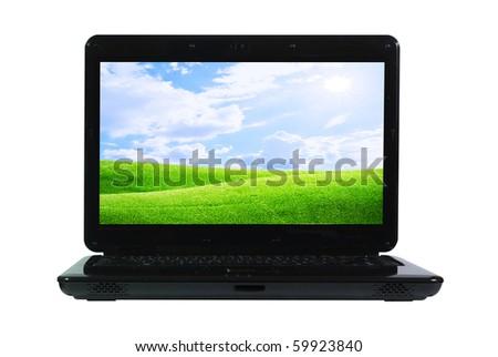 Open Black Laptop Computer - stock photo