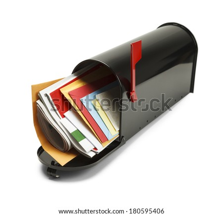 Open Black Mailbox Filled with Mail Isolated on White Background. - stock photo