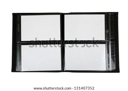 Open black photo album isolated on white background - stock photo