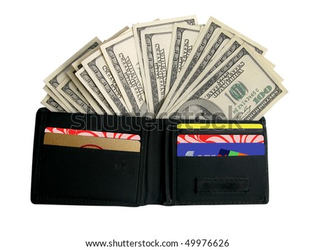 Open black purse with dollars - stock photo