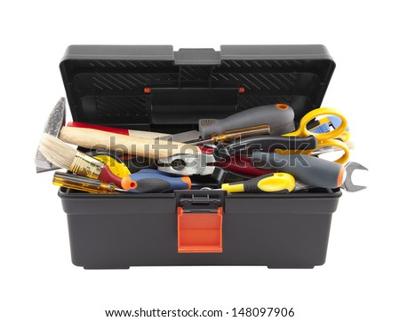 Open black toolbox with tools. Clipping path included. - stock photo