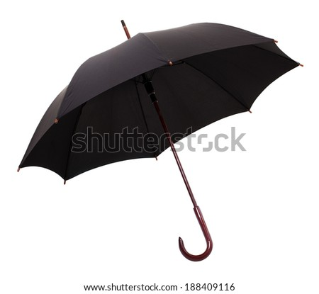 Open Black Umbrella Isolated on a White Background. - stock photo