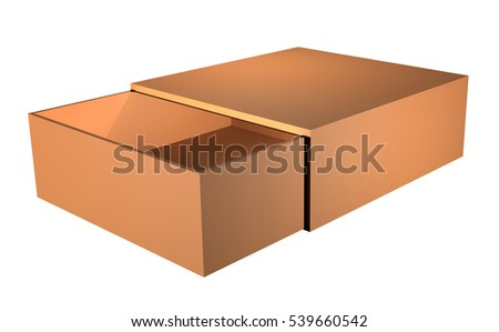 open blank box isolated on white background. 3d illustration