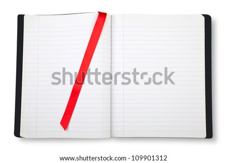 Open blank exercise book  on white with shadow - stock photo