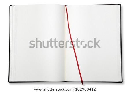 Open blank exercise book  on white with shadow (clipping path) - stock photo