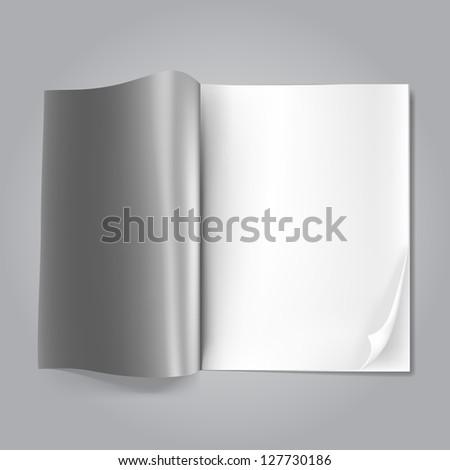 open blank magazine on grey - stock photo