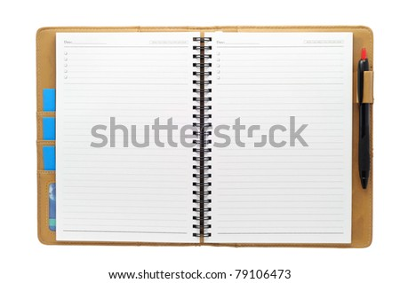 Open blank note book, isolate, on white background - stock photo