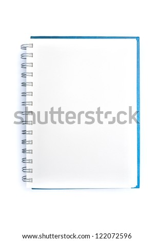 Open blank note book on white background - stock photo
