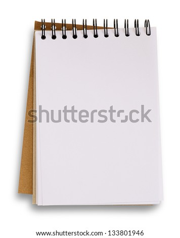 Open blank notebook isolated on white, clipping path.