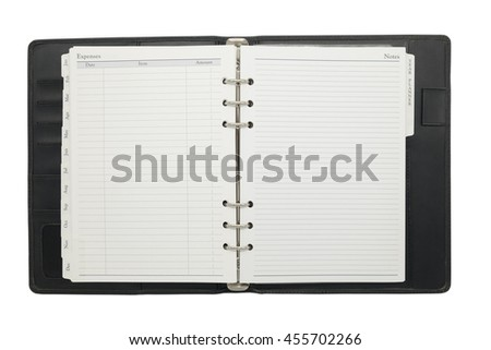 Open blank organize book on white isolated background