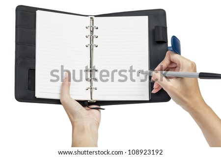open blank page note book and hand with pen