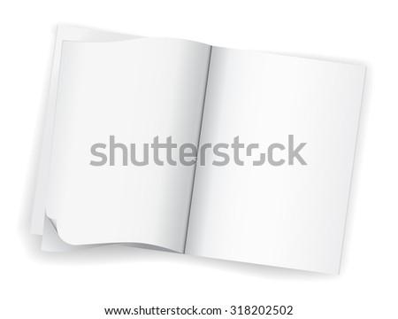 open blank white magazine book icon - stock photo
