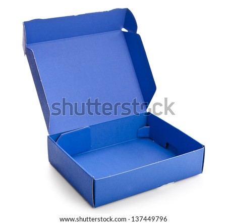 Open blue cardboard box isolated on a white background - stock photo