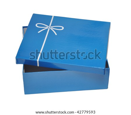 Open blue gift box isolated on white background