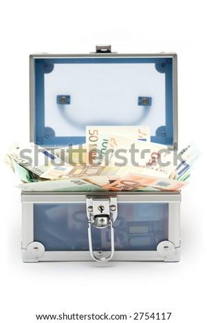 Open Blue Money Chest - stock photo