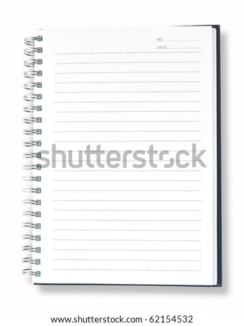 open blue note book isolate on white background