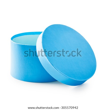 Open blue round gift box. Holiday present. Object isolated on white background. Clipping path