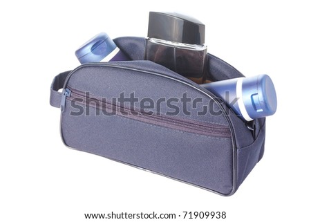 Open blue travel toiletries bag with man`s cosmetics isolated against a white background