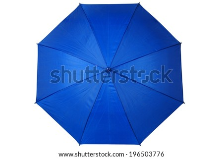 Open blue umbrella isolated on white background - stock photo