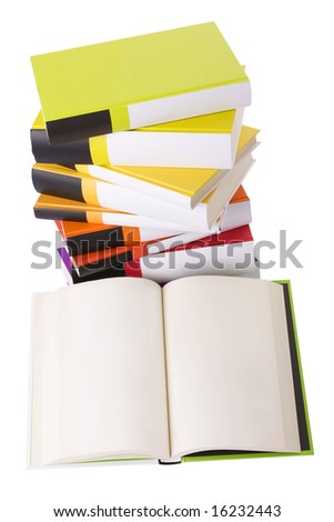 Open book and pile of books isolated on white