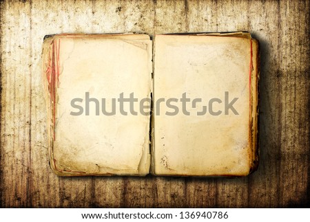 Open Book blank on old wood background - stock photo