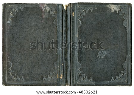 Open book - circa 1880 - old cover isolated on white - canvas - with clipping path - XL size - stock photo