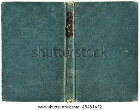 Open book cover in green canvas - isolated on white - with clipping path - XL size - stock photo