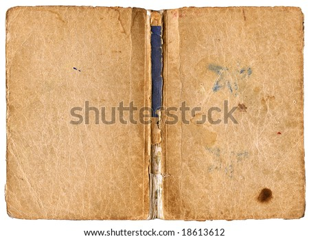 Open book - cover with damaged backbone - vintage blank papers with grungy surface - isolated on white