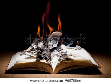 Open book fire - stock photo