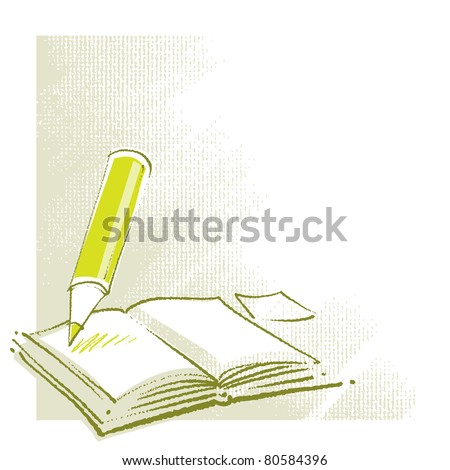 open book icon (with a pencil, stylized, simplified, artistic painterly style)  (raster version) - stock photo