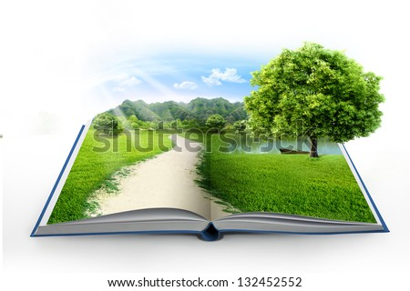 Open book in green grass over blue sky - stock photo