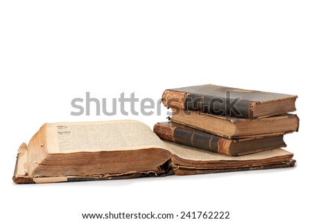open book in leather-bound old